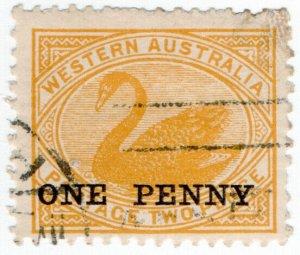 (I.B) Australia Postal : Western Australia 1d on 2d Yellow OP (SG 172)