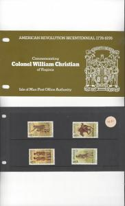 Isle of Man 78-81 American Revolution Bicentennial 1976 MNH Presentation Pack