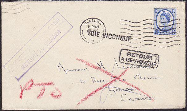 GB 1965 cover to France- returned to sender.................................6653