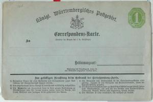 66753 - GERMANY Württemberg - Postal History - POSTAL STATIONERY CARD : P3