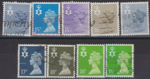 0726) Great Britain - N.Ireland. 1971/93. Used. Small collection Machins