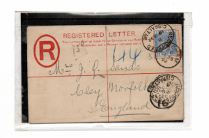 GIBRALTAR 1892 REGISTERED COVER TO ENGLAND