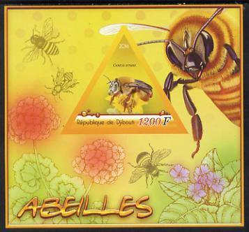 Djibouti 2014 Bees imperf deluxe sheet containing one tri...