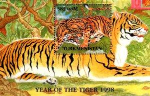 Turkmenistan MNH S/S Crouching Tiger Wildlife