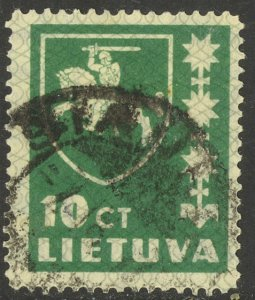 LITHUANIA 1937-39 10c ARMS Issue Sc 301 VFU