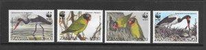 BIRDS - ZAMBIA #654-7  WWF  MNH