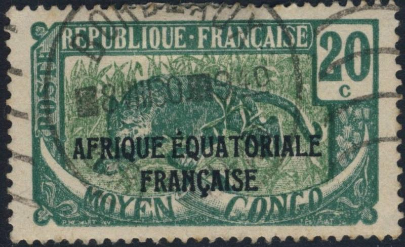 MOYEN-CONGO - Yv. 94 10c VERT & VERT-JAUNE OBL. MÉCAN. BORDEAUX/GIRONDE