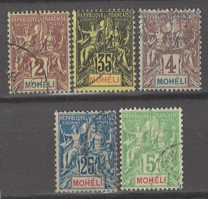 COLLECTION LOT # 3010 MOHELI 5 STAMPS 1906+ CV+$16