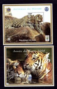 Niger 1006-07 MNH 1998 2 souvenir sheets of Tigers