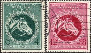 Stamp Germany Mi 900-1 Sc B284-5 1944 WWII 3rd Reich Vienna Race Racehorse Used