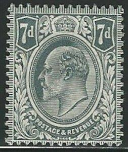 Great Britain, 1910, Scott #145, 7p Gray, Edward VII, Mint, N.H.