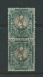 SOUTH AFRICA -Scott 23- Springbok -1926 -Used- Vert.Pair 1/2d Stamps