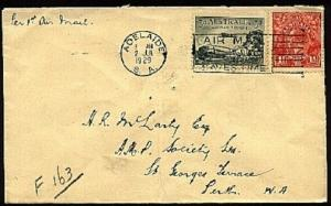 AUSTRALIA 1929 first flight cover Adelaide to Perth.......................94293W