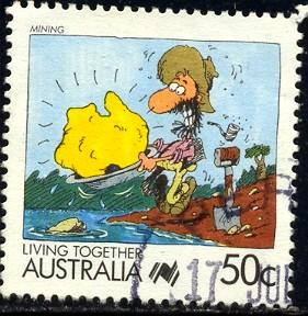 Cartoon, Mining, Australia stamp SC#1066 used