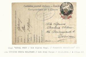 Italia 1916 3° REGGIMENTO ALPINI BATTne PINEROLO ppc POSTA MILITARE Italy WW1