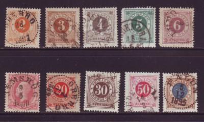 Sweden Sc  40-9 1886-91 posthorn on back stamp set  used