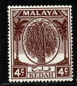 MALAYA KEDAH SG79 1950 4c BROWN MNH