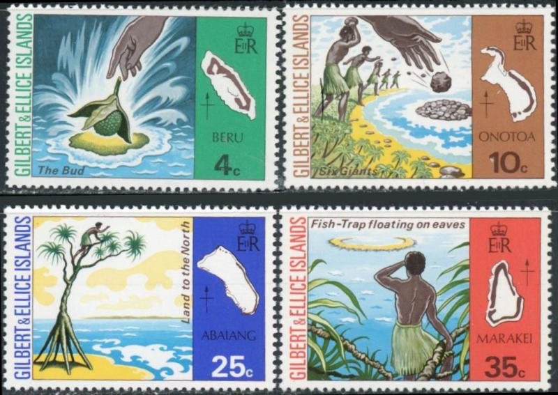 Gilbert and Ellice Islands #245-248 Legends of the Island Names MNH