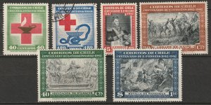 Chile 1944-45 Sc 238-43 sets MH*/used