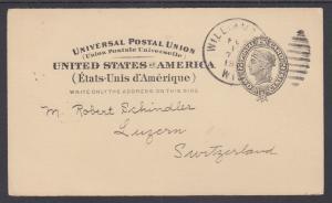 US Sc UX16 used 1898 2c Liberty Int'l Postal Card, Scarce WILLIAMS BAY cds