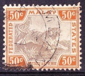 MALAYA 1906 50 Cents Grey-Brown & Orange-Brown SG47c Used