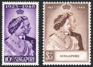Singapore 1948 10c-$5 Silver Wedding SG 31-32 Sc 21-22 UMM/MNH Cat £110($137)