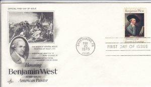 1975, Honoring Benjamin West, Artcraft, FDC (D15000)
