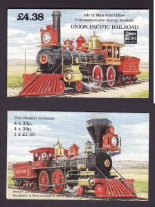 Isle of Man-Sc#518b-complete booklet with unused NH panes -Trains-Locomotives-19