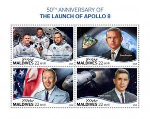 MALDIVES - 2018 - Apollo 8 - Perf 4v Sheet - MNH