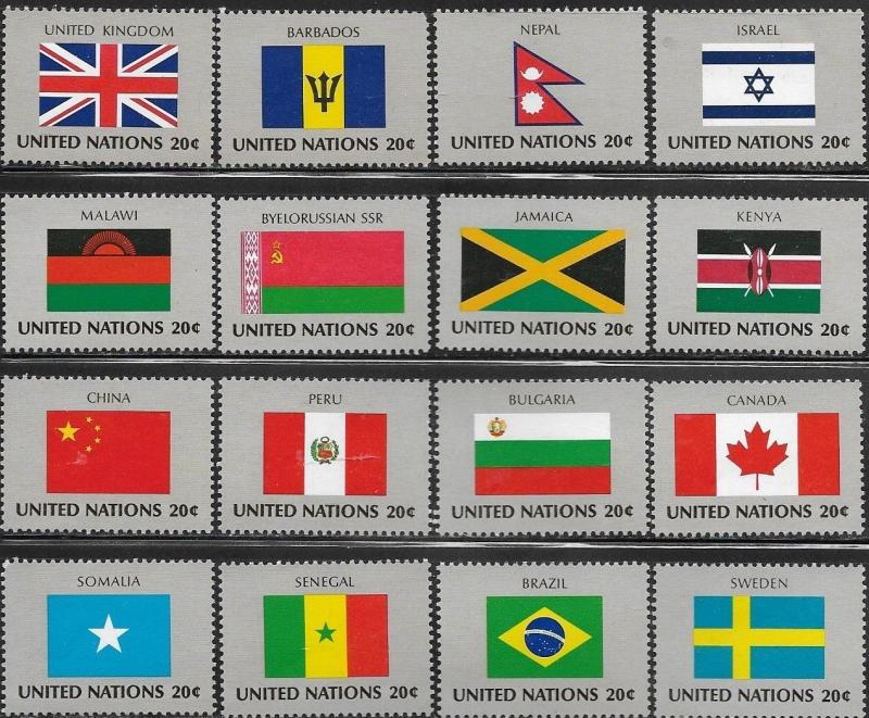 United Nations 1983 New York Flags of the Member Nations SC#  399-414 MNH