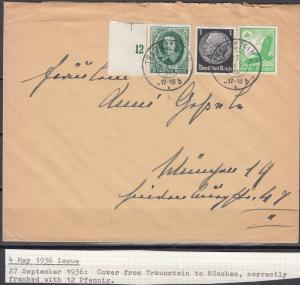 Germany - 27.9.1936 Guericke stamp on cover Traunstein - Munich (5031)