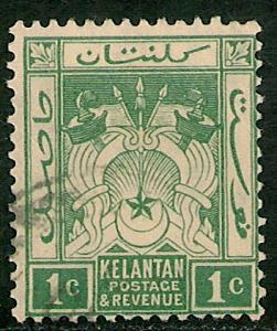 Malaya - Kelantan #14 FVF USED - 1921 1c Symbols Of Gov't