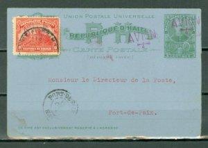 HAITI EARLY AIR CARD..PORT au PRINCE - PORT la PAIX...1927?