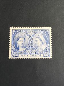 Canada #60 Mint Centered to Bottom Still VF-LH - O.G. 1897 50c Jubilee Sc. $375.