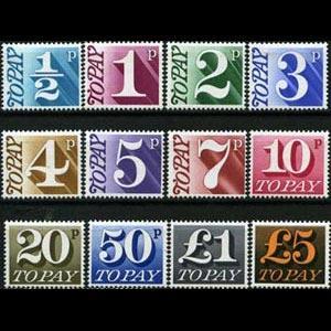 G.B. 1970 - Scott# J79-91 Numeral Set of 13 LH