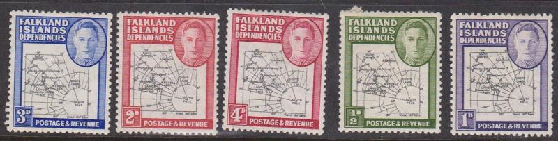 Falkland Islands Dependencies - 1946 Maps 5 Values mint #IL1-5
