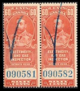 CANADA REVENUE TAX 1930 60c #FEG2 FINE PAIR ELECTRIC & GAS INSPECTION STAMP
