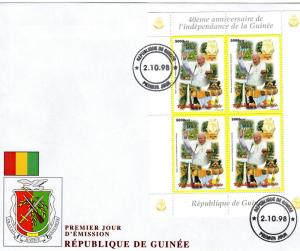 Pope John-Paul II Guinea 40th.Ann.Indep. 98 Shlt Perf.FDC