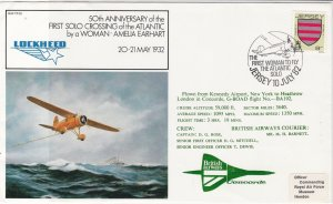 Jersey 1982 50th Ann.1st Woman Fly Atlan.Cancel BA Concorde Stamps Cover Rf23410