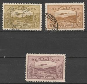 NEW GUINEA 1939 BULOLO AIRMAIL 11/2D 4D AND 6D USED