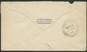 NEW ZEALAND 1904 cover TRAVELLING PO / INWARDS / DUNEDIN - CHRISTCHURCH....39698