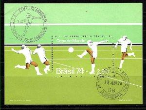 #1049 BRASIL BRAZIL1974 SPORTS FOOTBALL SOCCER S/SHEET YV BL 33 FIRST DAY