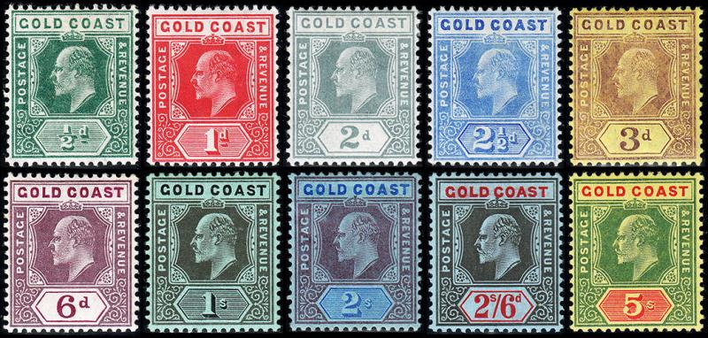 Gold Coast Scott 56-65 (1907-13) Mint H VF Complete Set, CV $218.75