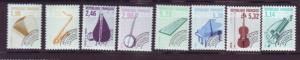 J20251  jlstamps 1992 france various perf 13, 3 short f/set mnh #2274-up music