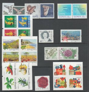 Sweden Sc 2609/2627 MNH. 2009 issues, 7 complete sets, fresh, bright, VF.