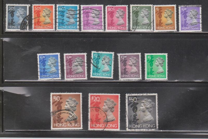 HONG KONG Scott 630//651e Used Part Set Of QEII Definitives CV $25.00