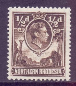 Northern Rhodesia Scott 26a - SG26a, 1952 George VI 1/2d Perf 12.1/2 X 14 MH*