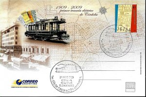 PS-198A ARGENTINA 2009 P STATIONARY FIRST ELECTRIC TRAMWAY CENTENARY FDC