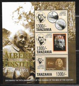 TANZANIA  2391 MNH SHEET OF 3 ALBERT EINSTEIN 1879-1955