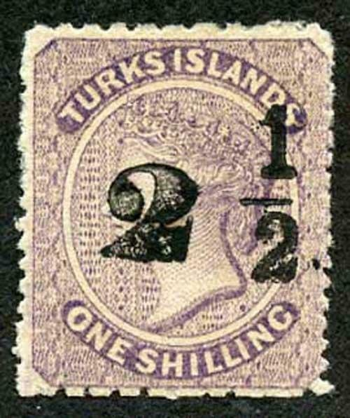 Turks Caicos SG37 1881 2 1/2d on 1s lilac type 24 surch from setting 8 (pos 12)